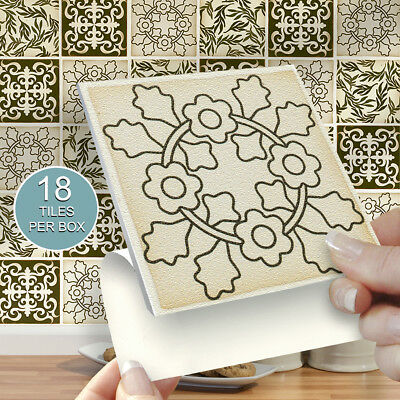 """18 Victoriana 4"""" x 4"""" Stick On Self Adhesive Tile Stickers Kitchens & Bathrooms"""