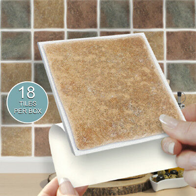 """18 Tuscany Mix 4"""" x 4"""" Stick On Self Adhesive Tile Stickers Kitchens & Bathrooms"""