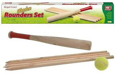 M.Y Deluxe 6 Piece Wooden Rounders Set in Coloured Box With Ball Top Quality