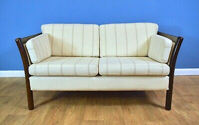 Mid Century Retro Vintage Danish Cream Wool 2 Seater Sofa Settee by Stouby