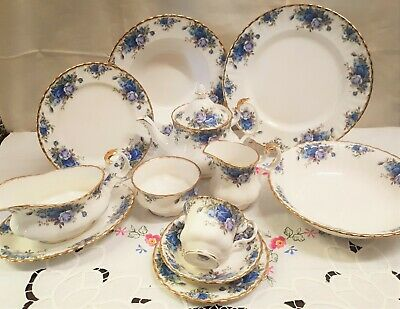 Royal Albert MOONLIGHT ROSE Blue Tablewares Teapot Bowls Plates Trio VGC