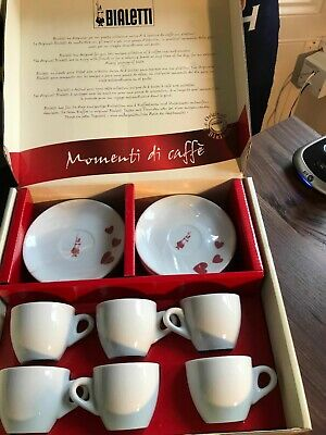 BIALETTI espresso cup and soucer set of 6, boxed