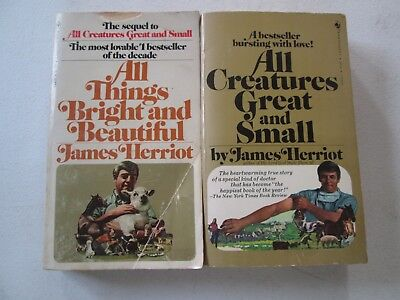 JAMES HERRIOT LOT OF 2 PAPERBACKS All Creatures Great and Small Bright Beautiful