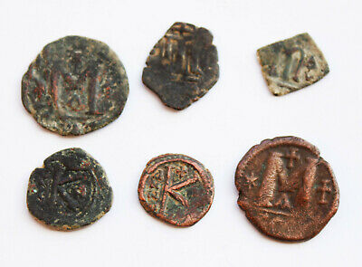 Lot of 6 uncleaned Byzantine bronze coins,  5- 6 century CE.