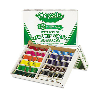 Crayola Watercolor Wood Pencil Classpack 3.3 mm 12 Asstd Clrs 240 Pencils/Box