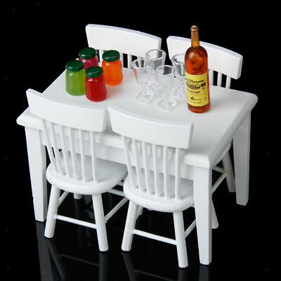 Set of 5pcs Miniature Furniture Dining Table and Chairs for 1:12 Doll House EW