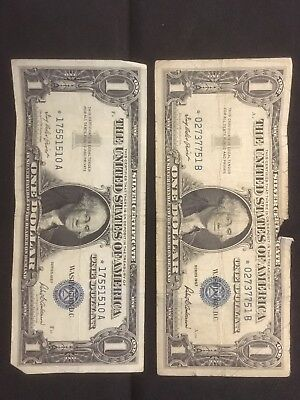 Two 1957 $1 Silver Certificate Star Notes