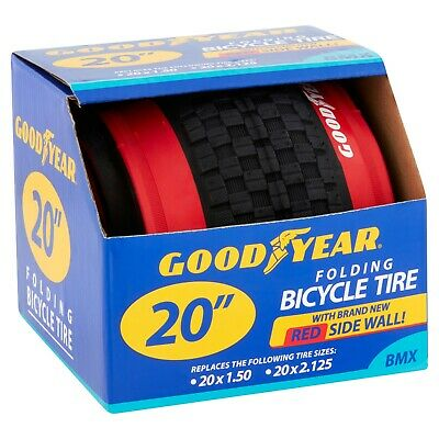 """NEW Goodyear 20/"""" BMX Bicycle Tire Red sidewalls for 20x1.50 /& 20x2.125"""