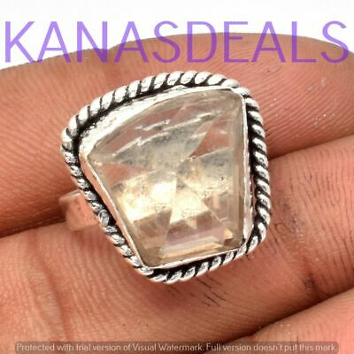 """Green Amethyst Ring 925 Sterling Silver Plated Ring Size 7.25"""" R-3987"""