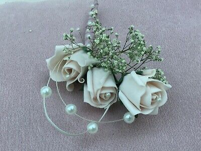 Wedding Flowers Buttonhole Corsage Groom Mother Of Bride Blush Pink Pearls