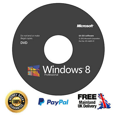 Windows 8.1 Pro Installation Disc + Genuine Licence Key - 64/32 bit (CD/DVD)
