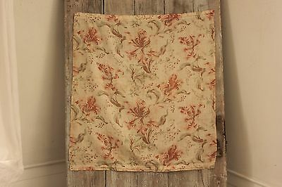 Cafe Curtain Antique French sm sheer fabric floral pattern c 1900 orange & green