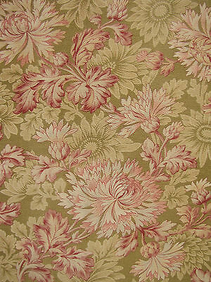Floral Fabric heavy weight cotton large scale design Antique French soft tones
