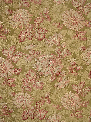 Antique French floral fabric c1880 heavy upholstery weight soft pink & tan tones