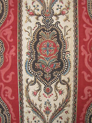 Fabric Antique French Block-printed red striped c1870 Indienne linen & cotton