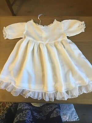 Antique Victorian Ivory Silk Baby Dress VGC suit Large Doll