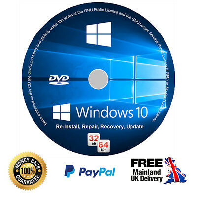 Windows 10 Home Installation Disc + Genuine Licence Key - 64/32 bit (CD/DVD)