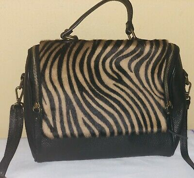 New Borse In Pelle Zebra Pony Hair Black Leather Shoulder Bag Made In Italy 61887809643f2