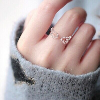 Adjustable Angel Wings Ring Micro Pave Zircon Gold-Color Rings For Women Fashion