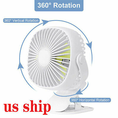 360° Rotation Portable USB Fan Clip On Table Desk Personal 3 Speed Cooling+Light