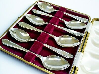 Fine Cased Set Vintage Hm Solid Silver Teaspoons/eric Viners Sheffield 1957
