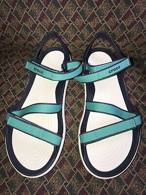 275818e71489 Crocs Straps Sandals Swiftwater Webbing Shoe Women s Size 9 Tropical Teal  NEW
