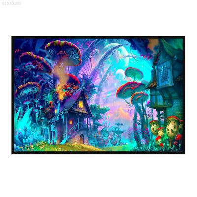 4E59 Psychedelic Mushroom Town Poster Mural Picture Silk Cloth Home Decor Art