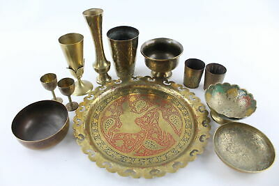 12 x Vintage Decorative Middle Eastern BRASS Inc. Vases, Bowls, Etc (2172g)