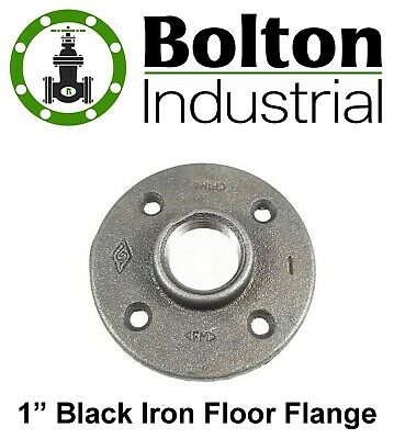 "1"" Inch Black Malleable Iron Pipe Floor Flange Fittings Plumbing - Brand New!"