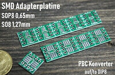 SMD Adapterplatine SO8 1,27m , SOP8 0,65mm Adapter auf to DIP8 RM 2,54mm PCB
