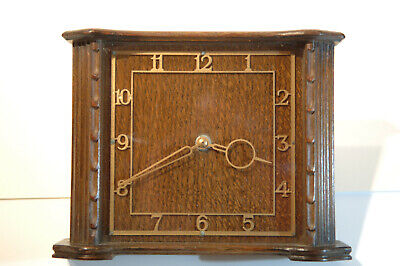 Beautiful Oak Smiths mantel / carriage clock with Art Deco hands