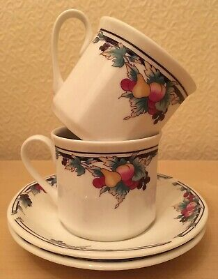 Royal Doulton Autumn's Glory Cups & Saucers PAIR (2) Excellent FREE UK POSTAGE