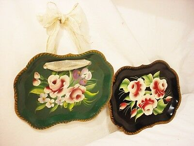2 Vtg Metal Green Black Tole Snack Tray Pink Roses Gold Trim 9.5x7 Hand painted