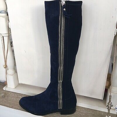 Navy Suede Knee high Boots Size 4