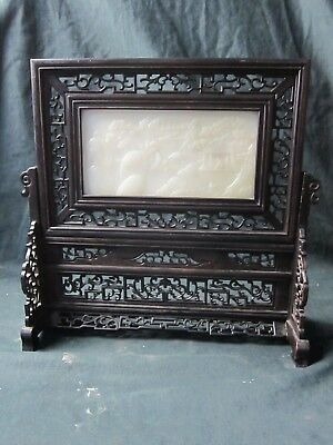 Antique Chinese Jade Carved Table Screen  On Carved Rosewood Stand
