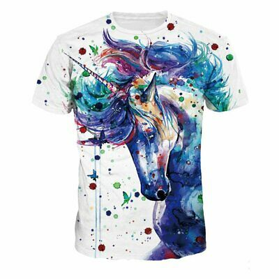 Summer Unisex Short Sleeve T-shirt O-neck Blouse Animal Printed Pullover Tops NL