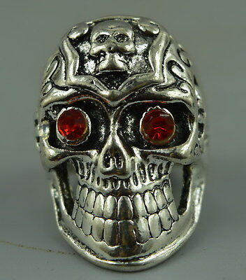 AAA Decor Wonderful Ring Chinese Tibet Silver Carve Horrific Skull Rare Gift