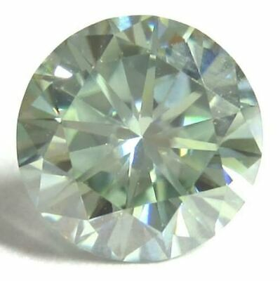 Certified 3.70 Ct Genuine Loose Moissanite Light Green Color VS1 Round 9.69 mm