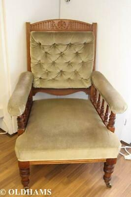 Lovely Antique Edwardian Armchair - Button Back - Carved Panels - Oak