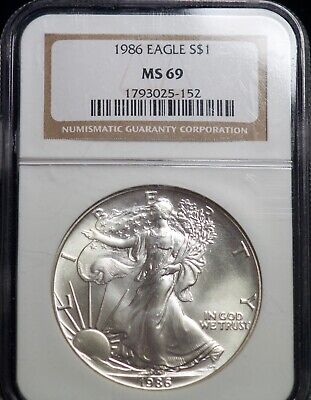 NGC MS 69 1986 American Silver Eagle One Dollar