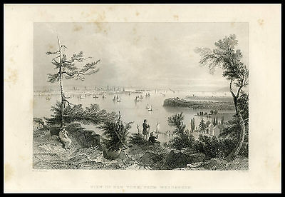 View of New York from Weehawken W.H. Bartlett 1855 steel engraved print