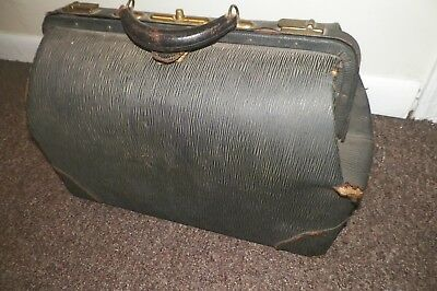 Vintage Black Leather Doctors Bag Antique Display Unique