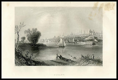 View of Albany Harbor Hudson River New York 1855 antique steel engraved print