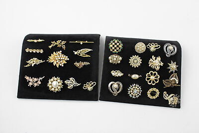25 x Vintage & Retro FAUX PEARL BROOCHES inc. Floral, 1980s, Gold Tone