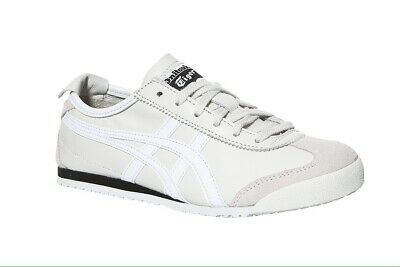 new style c9649 0367c ASICS MEXICO 66 White Leather Trainers D4J2L-9001