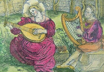 1532 Hans Weiditz - Master Woodcuts -  MUSICIANS Harp & Lute