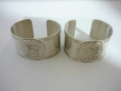 Stunning Pair Of Rare Mexican Sterling Silver Mayan Calendar Napkin Rings