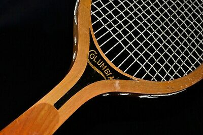 Vintage Bright Wood 1920 Wright & Ditson  Columbia Tennis Racket Great Decals