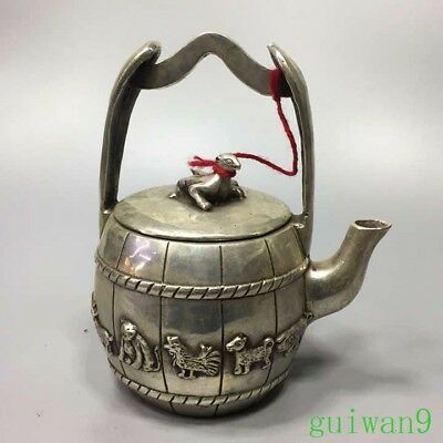 Collectable Miao Silver Carve Old 12 Zodiac Ancient Exorcism Bucket Shape Teapot