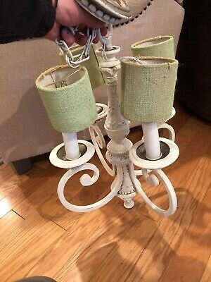 Vintage Chandelier French Country Shabby Chic 4 Arm Hanging Light Painted White